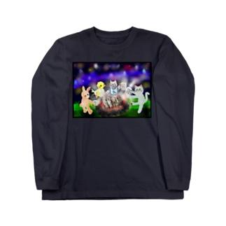 夜空キャンプ【ゆめかわアニマル】 ロングスリーブTシャツ