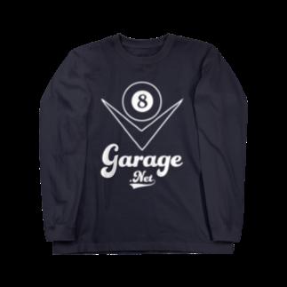 8garage SUZURI SHOPの8garageロゴ V8 White ロングスリーブTシャツ