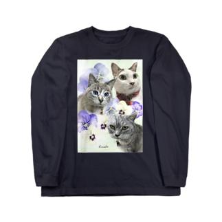 とみこちゃん3ニャンズ ロングスリーブTシャツ