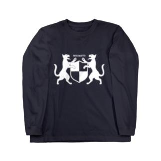 吼える猫の紋章服・暗色向け ロングスリーブTシャツ