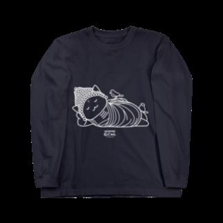 PygmyCat suzuri店の仏にゃん(白線)ロングスリーブTシャツ