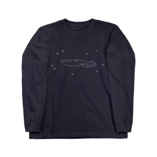 夜空飛ぶシロナガスクジラ ロングスリーブTシャツ