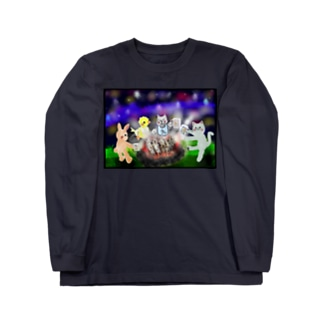夜空キャンプ【ゆめかわアニマル】 Long Sleeve T-Shirt