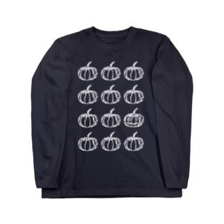 パンプキンフェイス3×4(wh) Long sleeve T-shirts