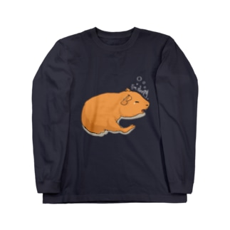 眠いモルモット Long sleeve T-shirts