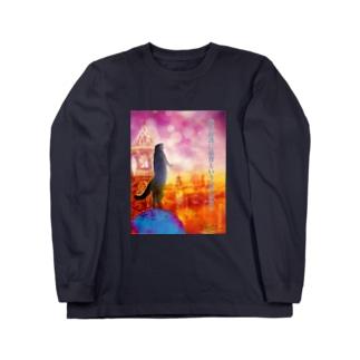 """ニャポレオン氏は""""NO猫背"""" Long sleeve T-shirts"""