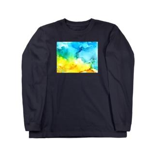 さざなみ-アルコールインクアート Long sleeve T-shirts