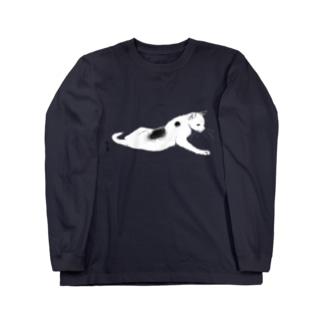 無真獣73号の横たわる猫の服  Long sleeve T-shirts
