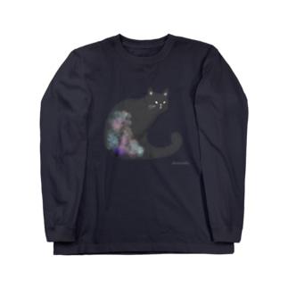 クロネコ 水彩 Long sleeve T-shirts