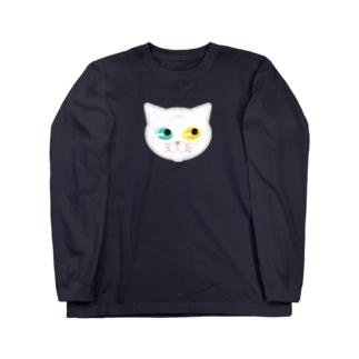 オッドアイな白にゃんこ Long sleeve T-shirts