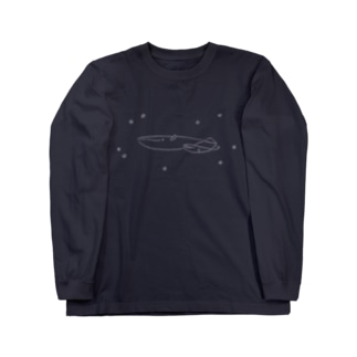 夜空飛ぶシロナガスクジラ Long sleeve T-shirts