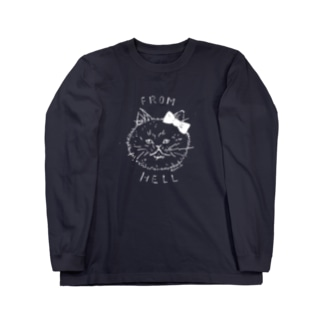ねこ from hell (white) Long sleeve T-shirts
