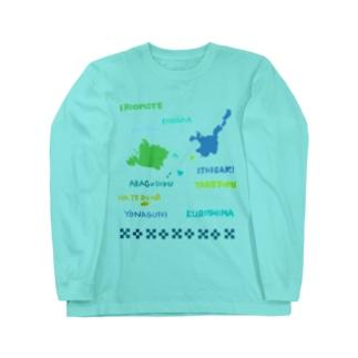 八重山地図 with ミンサー柄 Long sleeve T-shirts