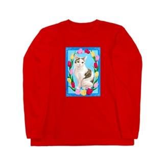 チューリップと猫 Long sleeve T-shirts