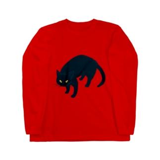 黒猫さん Long sleeve T-shirts