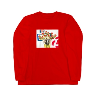 「傷んだ紅花」 Long sleeve T-shirts