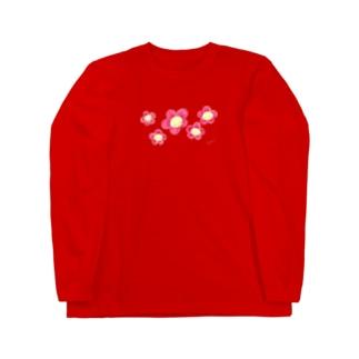 にこにこフラワー赤 Long sleeve T-shirts