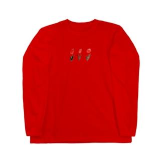 赤のチューリップ Long sleeve T-shirts