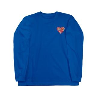 赤の紅型ハート Long sleeve T-shirts