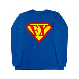 「空を見ろ!」「鳥だ!」「飛行機だ!」「いや、エフエックスマンだ!」 FXマン スーパーマン パロディ ネタ 投資 トレーダー 外為 Long sleeve T-shirts
