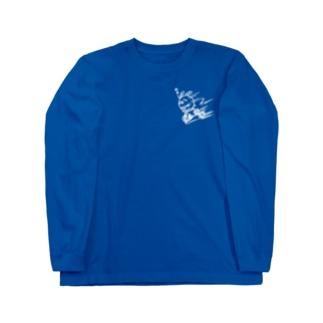 ウサコロまる・三輪車で坂を下る(小)(線画:白バージョン) Long sleeve T-shirts