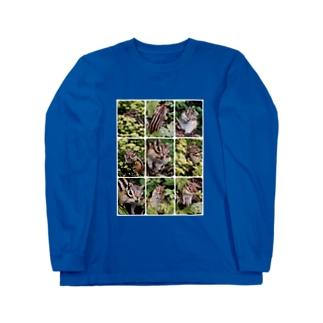 【にこらび】北海道サロベツ原野のエゾシマリス Long sleeve T-shirts