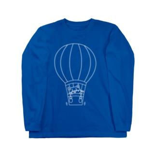 シバコロまる・気球(線画:白バージョン) Long sleeve T-shirts