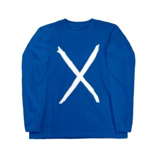 手書きスコットランド国旗 Long sleeve T-shirts