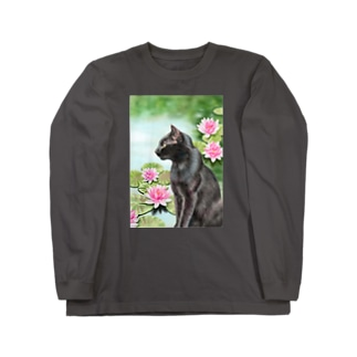 睡蓮と猫 Long sleeve T-shirts