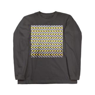 手織りのギザギザ Long sleeve T-shirts