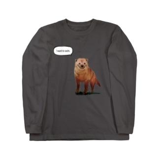 泳ぎたいヤブイヌ Long sleeve T-shirts