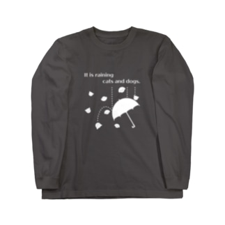 おもしろ英語表現(cats and dogs)白ver Long sleeve T-shirts