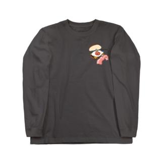 9月限定ワンポイント月見リップちゃんバーガー Long sleeve T-shirts