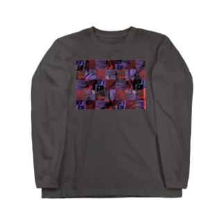 Fukami -服柄(red×purple)- Long sleeve T-shirts