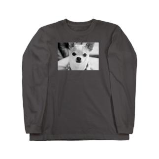 モノクロチワワ(おすまし) Long sleeve T-shirts