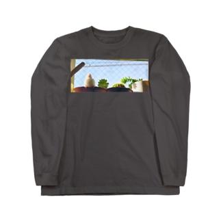 白文鳥のチマフミ Long sleeve T-shirts