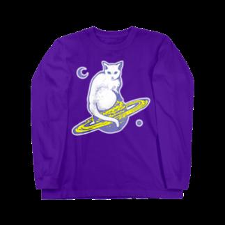 金星灯百貨店のスペースキャット グレーロングスリーブTシャツ