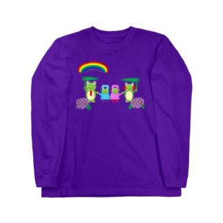 虹とかえるさん親子 Long sleeve T-shirts