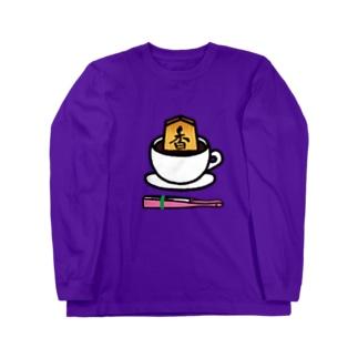 香るコーヒー(扇子ピンク色【数量限定】付き)[#将棋#香車] Long sleeve T-shirts
