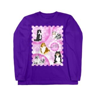 Five colors of Shetland Sheepdogs.~Wisteria~ Long sleeve T-shirts