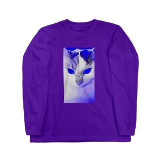 サイボーグ・フワフワ(ブルー) Long sleeve T-shirts
