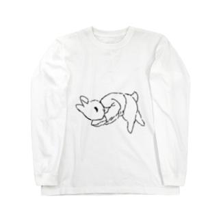 うさぎむすこ(黒6) ロングスリーブTシャツ
