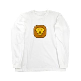 Savanna lion face ロングスリーブTシャツ