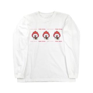 ゆるうさぎ いちご。 ロングスリーブTシャツ
