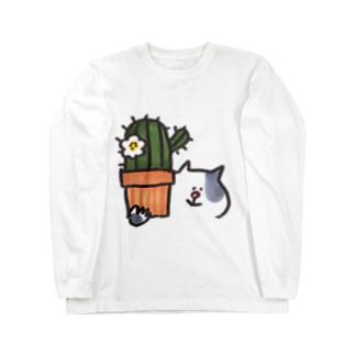 サボテンとねこ ロングスリーブTシャツ