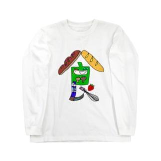 イラスト文字『食』 ロングスリーブTシャツ