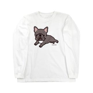 走るフレンチブルドッグ(ブリンドル) ロングスリーブTシャツ