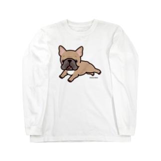 走るフレンチブルドッグ(フォーン) ロングスリーブTシャツ