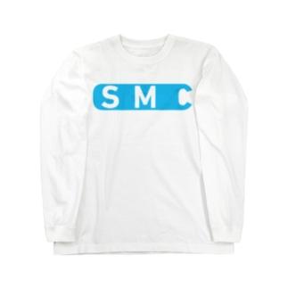白と水色のカーネーション(ロゴB柄) ロングスリーブTシャツ