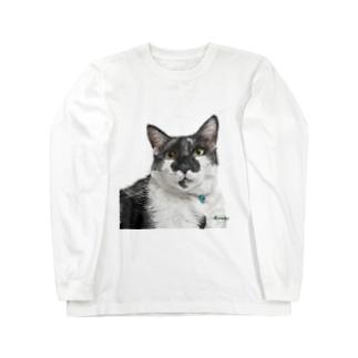 白黒オレオ君(背景なし) ロングスリーブTシャツ